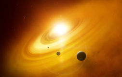 Fantasy deep space cataclysm with planet. Background Royalty Free Stock Photo
