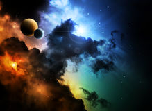 Fantasy deep space nebula with planet Stock Images