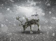 Fantasy Deer Castle Royalty Free Stock Photos