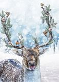 Fantasy deer with decorated antlers. Christmas holiday fantasy scene.