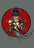 Fantasy demonic woman emblem Stock Image