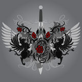 Fantasy design with gryphon, roses and sword Stock Photo