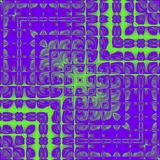 Digital fantasy design of modern ultra violet fractal square with neon green lines and square frame. Fantasy design of modern ultra violet fractal square with Stock Image