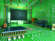 Fantasy digital room. Futuristic home inside. All in the interior made of electronic components. Conceptual high technology 3d illustration Stock Images