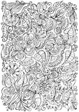 Fantasy doodle floral background. Hand drawn vector Stock Photo