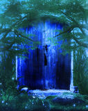 Fantasy Door. Blue fantasy door scenery in the forest stock illustration