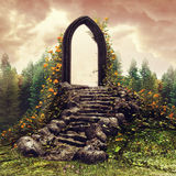 Fantasy door on a meadow Royalty Free Stock Image