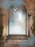 Fantasy door open for dove Stock Images