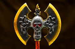 Fantasy double axe. With skull over dark   background Stock Image