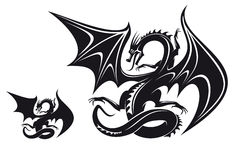 Fantasy dragon. Isolated fantasy black dragon for tattoo design royalty free illustration