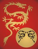 Fantasy Dragon -. Fantasy gold dragon on red background Royalty Free Stock Photography