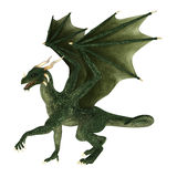 Fantasy Dragon. 3D digital render of a green fantasy dragon isolated on white background royalty free illustration