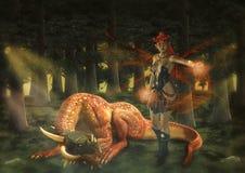 Fantasy Dragon & Evil Fairy stock image