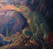 Fantasy dragon. Hand painted illustration of fantasy dragon in cave, breathing fire and guarding treasure of gold coins, celtic shield, sword and gold crown and Stock Photo