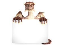 Fantasy dragon holding black sign advertisement. Stock Image