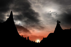 Fantasy dragon mountain Stock Photos
