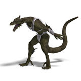 Fantasy Dragon Warrior. 3D rendering of a Fantasy Dragon Warrior with clipping path and shadow over white Stock Photos