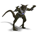 Fantasy Dragon Warrior. 3D rendering of a Fantasy Dragon Warrior with clipping path and shadow over white Royalty Free Stock Photos