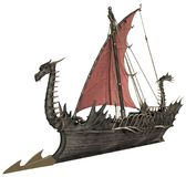 Fantasy dragon warship. 3D render of a fantasy dragon warship royalty free illustration