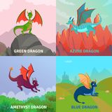 Fantasy Dragons Design Concept. Fairy dragons concept set of four compositions with native outdoor landscape and cartoon style dragon images vector illustration Royalty Free Stock Images