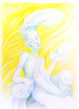 Fantasy drawing of sky feather fairy spirit, detailed colorful a Royalty Free Stock Image