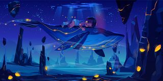 Free Fantasy Dream, Space Fairy Tale With Huge Whale Stock Image - 158652211
