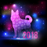 Fantasy duotone dog silhouette with snowflakes and 2018 New Year inscription on the night sky with lights and stars. Dog. Pink and blue silhouette hologram for Royalty Free Stock Photo