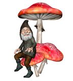 Fantasy dwarf 2. 3D render of a fantasy dwarf sitting on a mushroom Royalty Free Stock Image