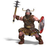 Fantasy dwarf with spike club and shield. 3D rendering of a fantasy dwarf with spike club and shield with clipping path and shadow over white Royalty Free Stock Image
