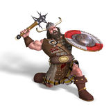 Fantasy dwarf with spike club and shield. 3D rendering of a fantasy dwarf with spike club and shield with clipping path and shadow over white Royalty Free Stock Photography