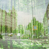 Fantasy Ecology Abstract Background. Urban Landscape Mixed with the Natural on Paper Texture. Stock Image