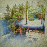 Fantasy Ecology Abstract Background. Urban Landscape Mixed with the Natural on Paper Texture. Stock Photo