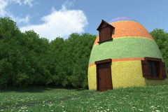 Fantasy egg house on blooming meadow. 3d render vector illustration