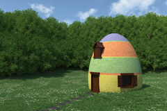 Fantasy egg house on blooming meadow. 3d render royalty free illustration