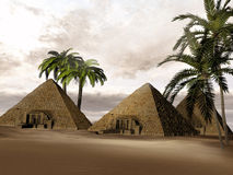 Fantasy Egyptian pyramids Stock Photo