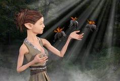 Fantasy Elf, Butterfly Elephant, Woods Royalty Free Stock Photos