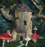 Fantasy elf house with mushrooms. Fantasy elf tree house with mushrooms all around in the dark forest - 3D illustration stock illustration