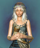 Fantasy Elf Portrait. 3D portrait of a fantasy elf girl with flower wreath Stock Photo
