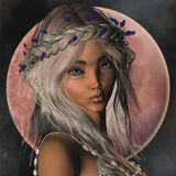 Fantasy Elf Portrait. 3D portrait of a fantasy elf girl with flower wreath Stock Images