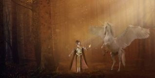 Fantasy elf and unicorn in forest panorama. Fantasy autumn brown forest landscape with elf fairy offering a golden apple to a winged unicorn vector illustration