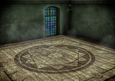 Empty room with a magical circle. Fantasy empty room with a magical circle on the floor Stock Images