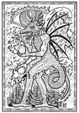 Dragon symbol in frame. Monster with demon wings, waves, fire balls and treasures against big eye. Fantasy engraved illustration for t-shirt, print, card, tattoo Stock Photography