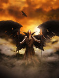 Fantasy Evil Spirit. Illustration of a fantasy evil spirit wearing armour and with bat/bird wings. Digital painting royalty free illustration
