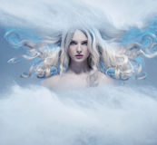 Fantasy expressive portrait of a blonde beauty stock images