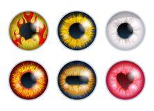 Fantasy eyes set - assorted colors. Iris pupils design. Color contact lenses. Colorful eyes realistic vector illustration royalty free illustration