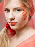 Fantasy face-art. Beautiful girl with fantasy face-art and veil Royalty Free Stock Photos