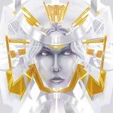 Fantasy face. Golden abstract fantasy face illustration Stock Photo