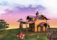 Fairytale land with a fantasy factory and mushroom house and trees. Fantasy factory with mushrooms and a bridge stock illustration