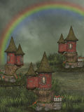 Fantasy fairy house. 3D rendering with rainbow in the garden stock illustration