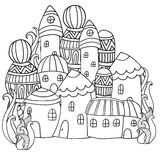 Fantasy fairy houses in the magic forest. Pattern for coloring book. Black and white pattern. Sketch by trace. Zentangle Royalty Free Stock Photo